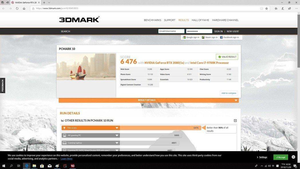 在PCMark 10拿到6,474分領先市場96%的電腦系統。 彭子豪/攝影