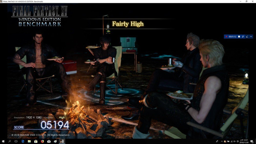 FINAL FANTASY XV以High做設定跑出Fairly High。 彭...