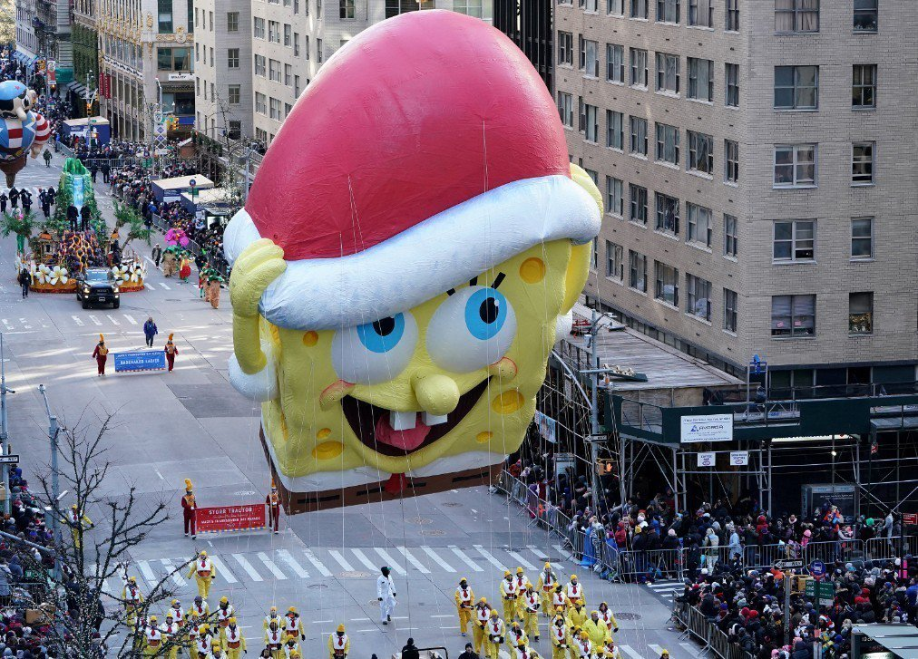 「海綿寶寶」卡通全球兒童觀眾喜愛。圖為今年11月在紐約梅西百貨感恩節遊行的海綿寶...