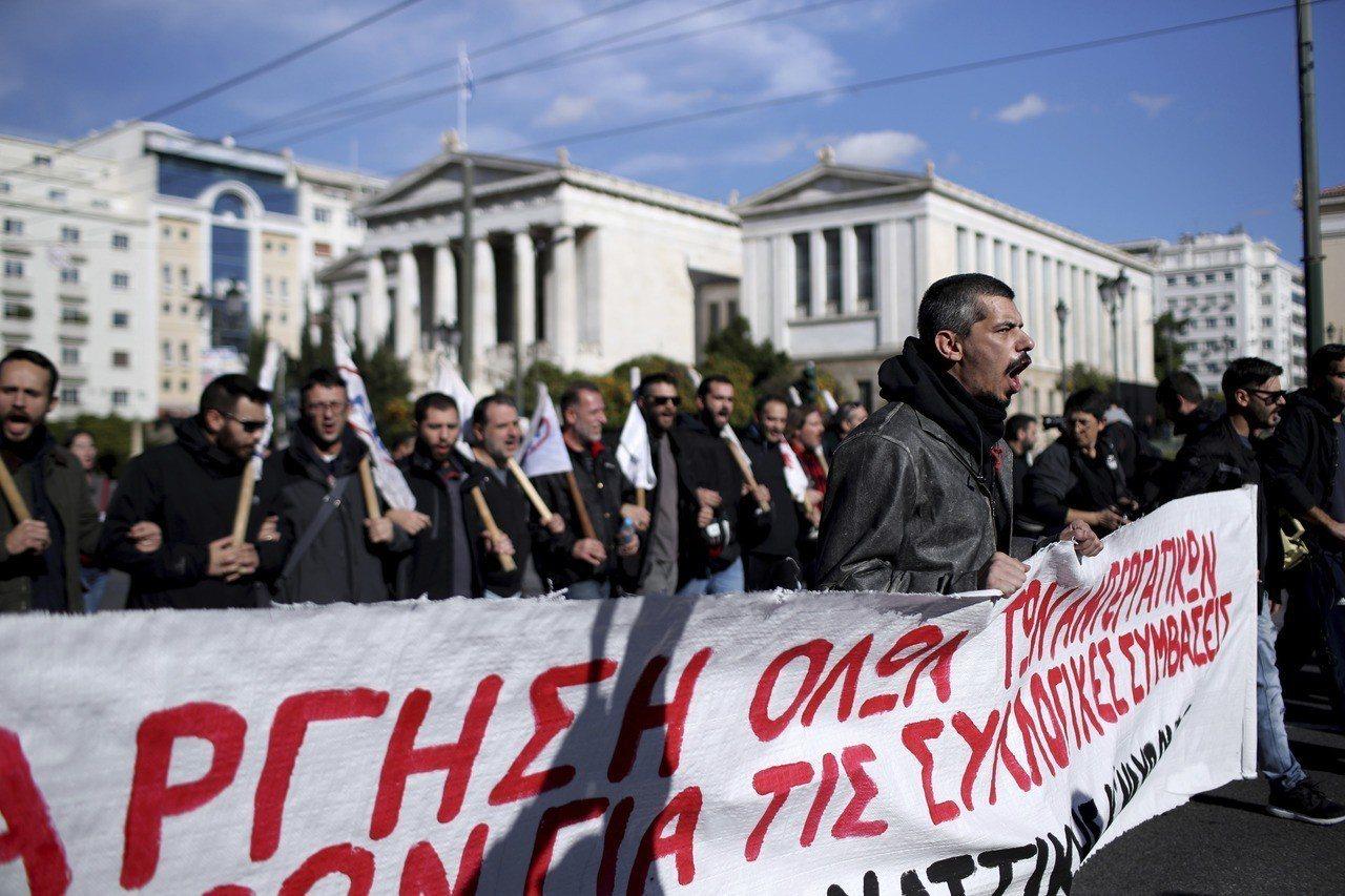 希臘工會發動24小時罷工,要求提高薪資和退休金。 美聯社