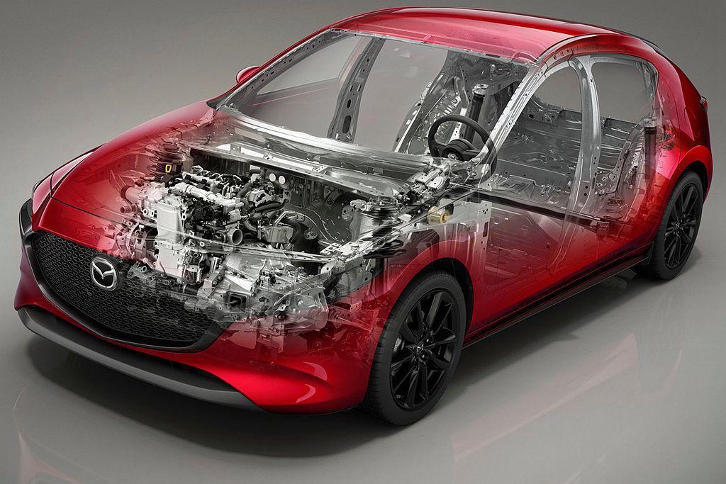 基於全新Skyactiv-Vehicle Architecture車體架構,全新第四代Mazda3擁有汽油1.5L、2.0L、2.5L,渦輪柴油1.8L以及最新開發的SKYACTIV-X引擎可搭配使用。 圖/Mazda提供