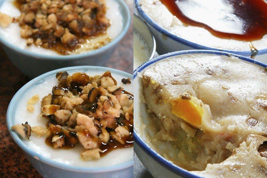 水粄與碗粿放料的方式不同,上圖左邊為水粄、右邊為碗粿 圖片來源/聯合報系