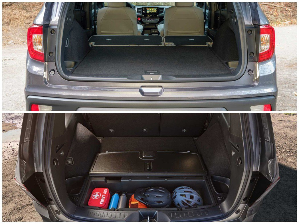 新世代Honda Passport後車箱空間最多可有2,206公升(在後座全部傾倒後)。後箱底板下另有70.8公升的隱藏式收納空間。 摘自Honda