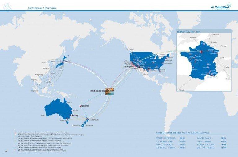這是大溪地航空的飛行路線圖 (Photo Credit: AirTahitiNu...