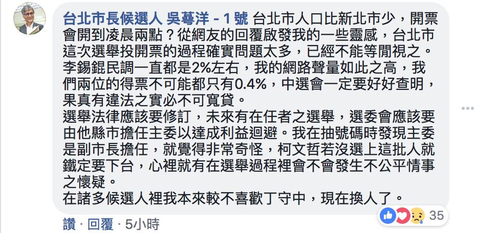 無黨籍台北市長候選人吳蕚洋今凌晨在臉書發文表達對此次選舉的看法。圖/翻攝網路