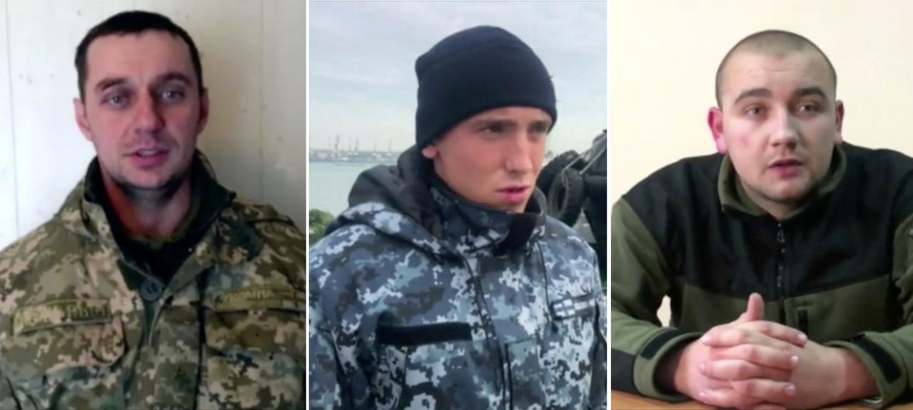 俄羅斯27日公布全新衝突影片,包括3名被逮捕的烏克蘭海軍,疑似「被認罪」的自白影...