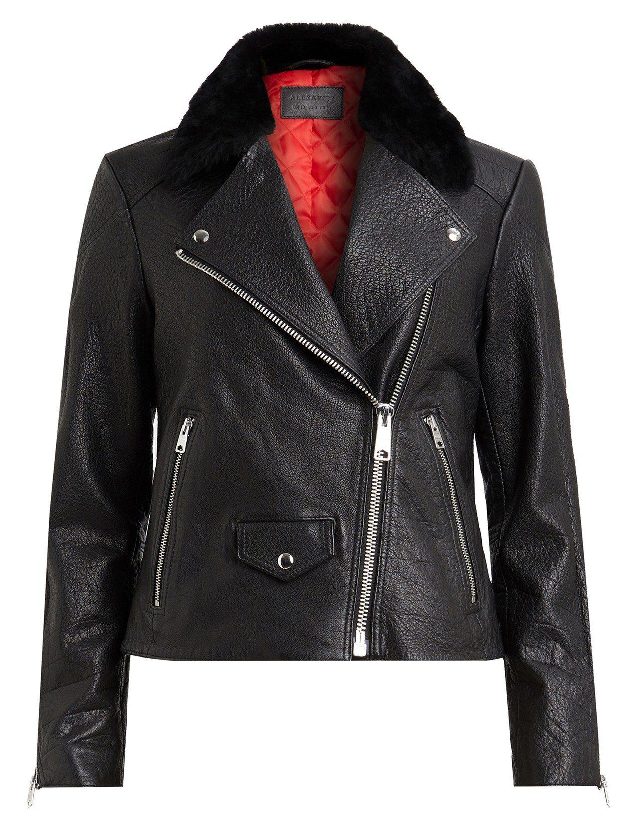 AllSaints Pataya毛領騎士夾克,19,600元。圖/AllSain...