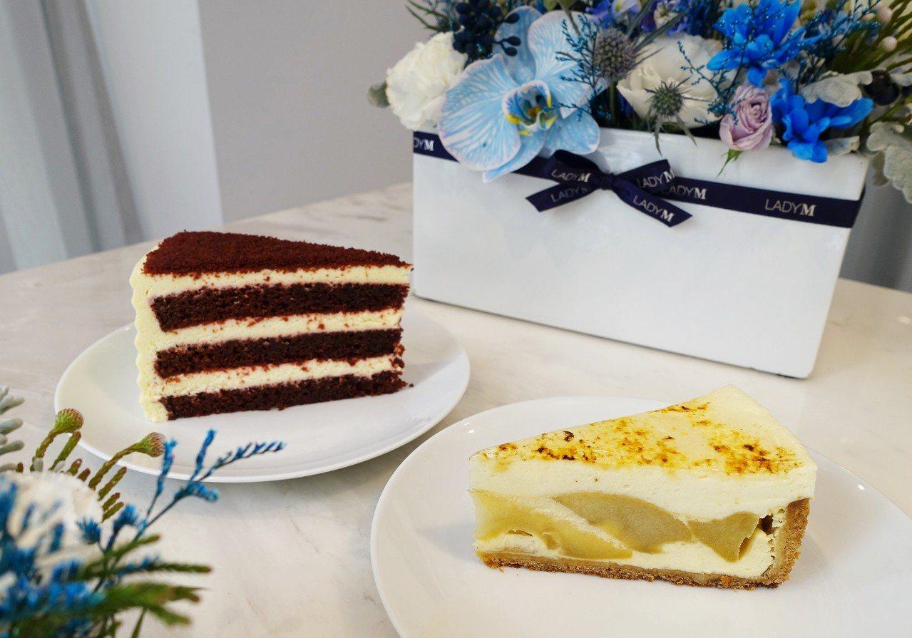 新品蘋果芙朗蛋糕(右)單片270元、九吋2,700元;經典紅絲絨蛋糕(左)單片2...