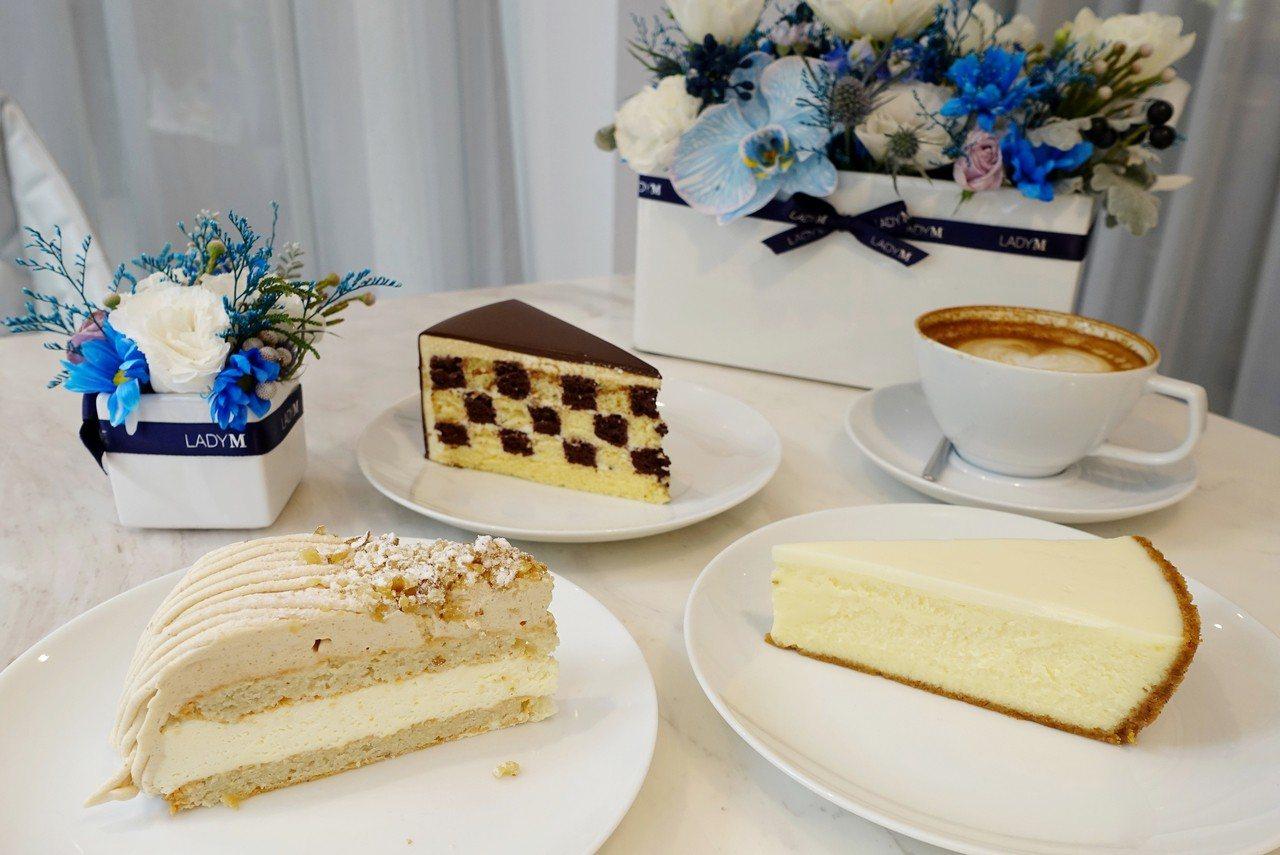 香草巧克力棋格蛋糕(上)單片260元;栗子奶油蛋糕(左)單片260元;雲朵起司蛋...