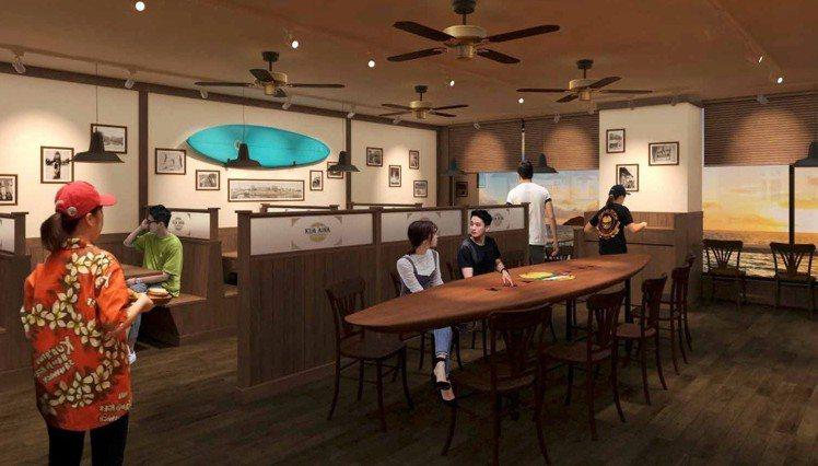 衝浪板桌是台中港店限定的特色。圖/乾杯集團提供