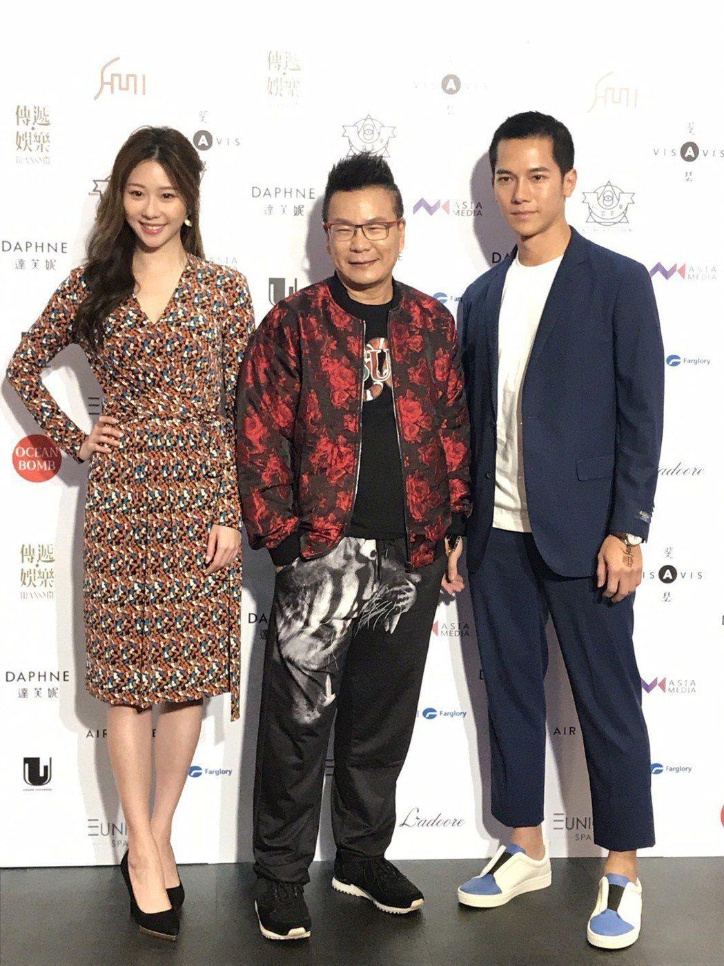 沈玉琳(中)和張景嵐(左)及梁翰名擔任模特兒大賽評審。記者葉君遠/攝影