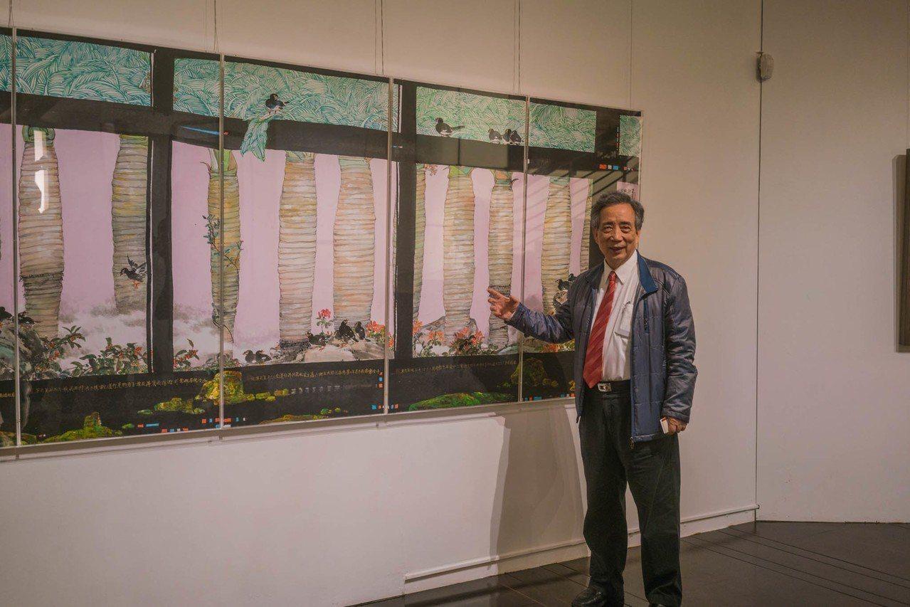 黃光男是二次大戰之後水墨東渡以來的第二代傑出藝術家,即日起在交大展出畫作。圖/交...