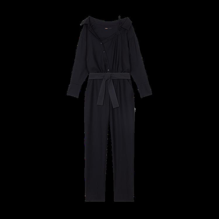 黑色斜肩連身褲,售價12,750元。圖/maje提供