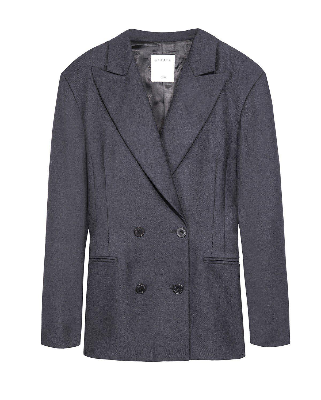 Sandro 雙排釦 黑色 西裝 外套 , 售價 13,680 元。 圖 / Sandro 提供