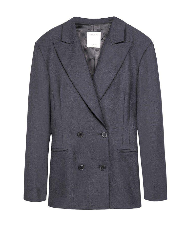 Sandro雙排釦黑色西裝外套,售價13,680元。圖/Sandro提供