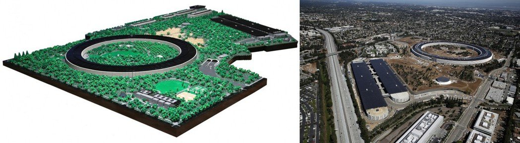 Spencer Rezkalla用樂高積木等比例縮小蘋果園區,左邊是他的作品,右...
