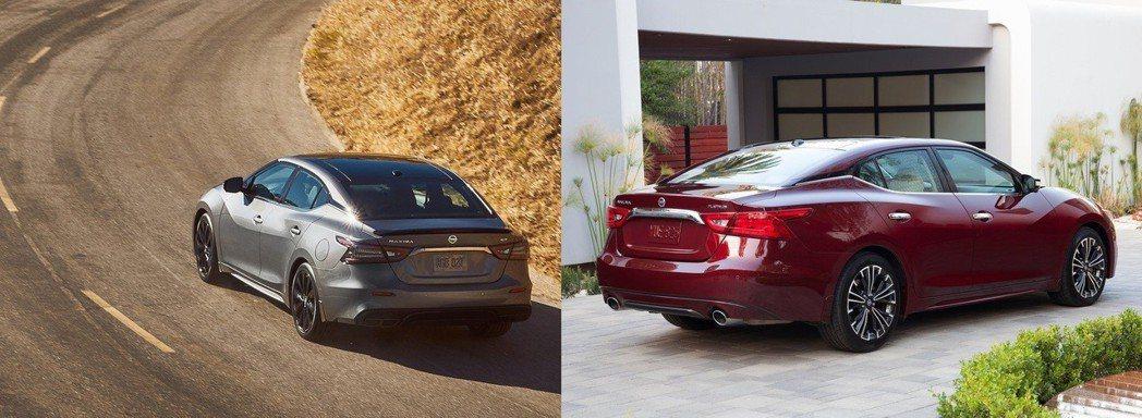 小改款(左)尾燈較鮮明與後方排汽飾管改為4出設計,改款前(右)造型較為單調。 摘自Nissan