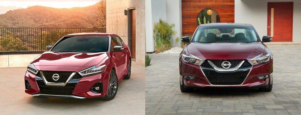 改款後(左) 改為LED頭燈組,霧燈也隨之更換,比起改款前(右)家族化V-motion面積增加。 摘自Nissan