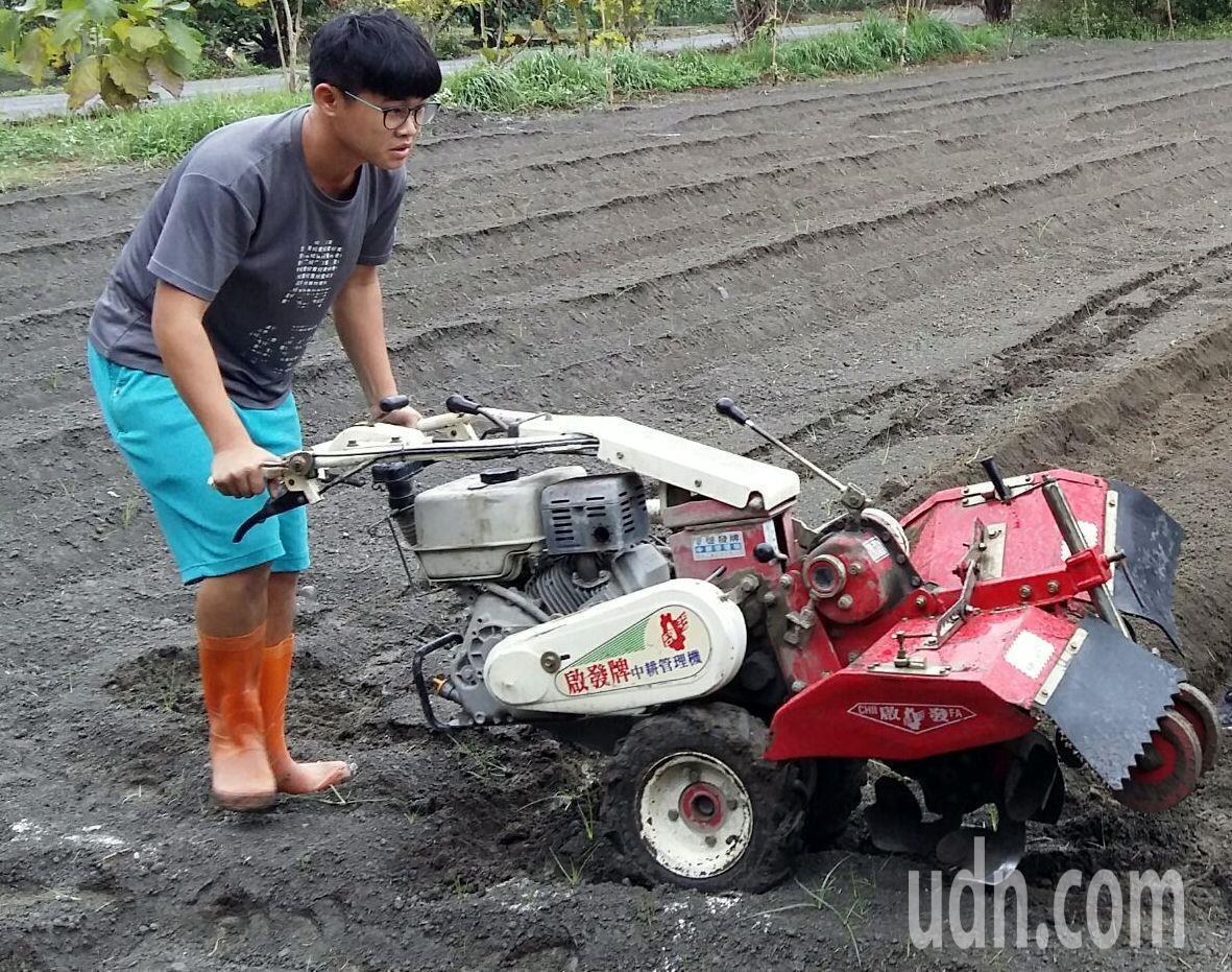 家住埔鹽鄉的施景庭是植物識別高手,希望將來能回到家鄉當青農。記者何烱榮/攝影