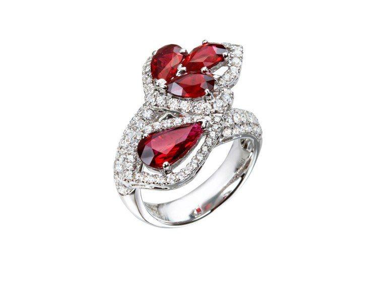 頂級珠寶系列套組戒指,18K白金戒指鑲嵌總重4.62克拉紅寶石、1.45克拉鑽石...