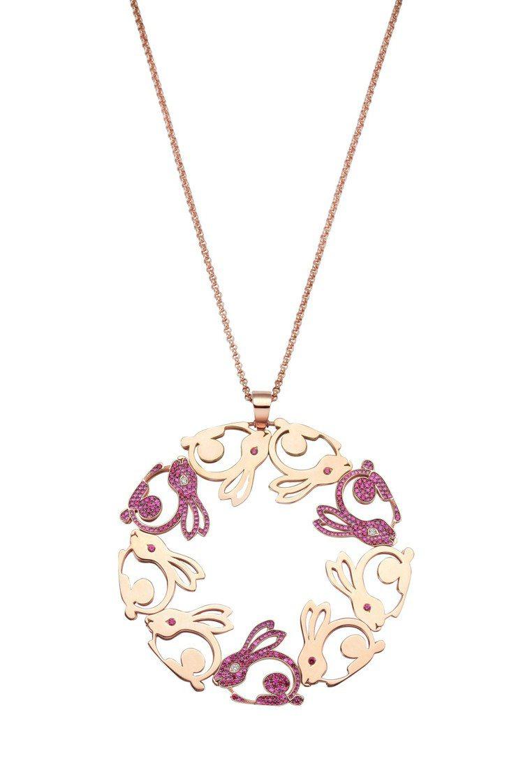 Animal World系列兔子項鍊,18K玫瑰金鑲嵌1.81克拉紅寶石、0.0...