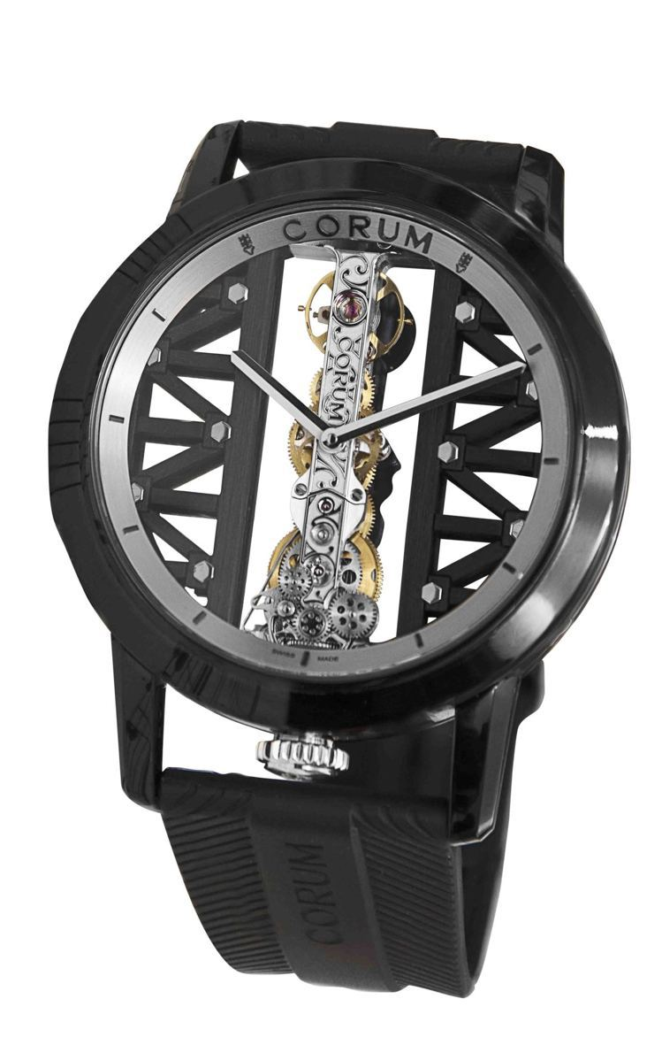 崑崙表DLC鈦金屬金橋腕表,43豪米白K金與黑色DLC塗層鈦金屬,83萬4,00...
