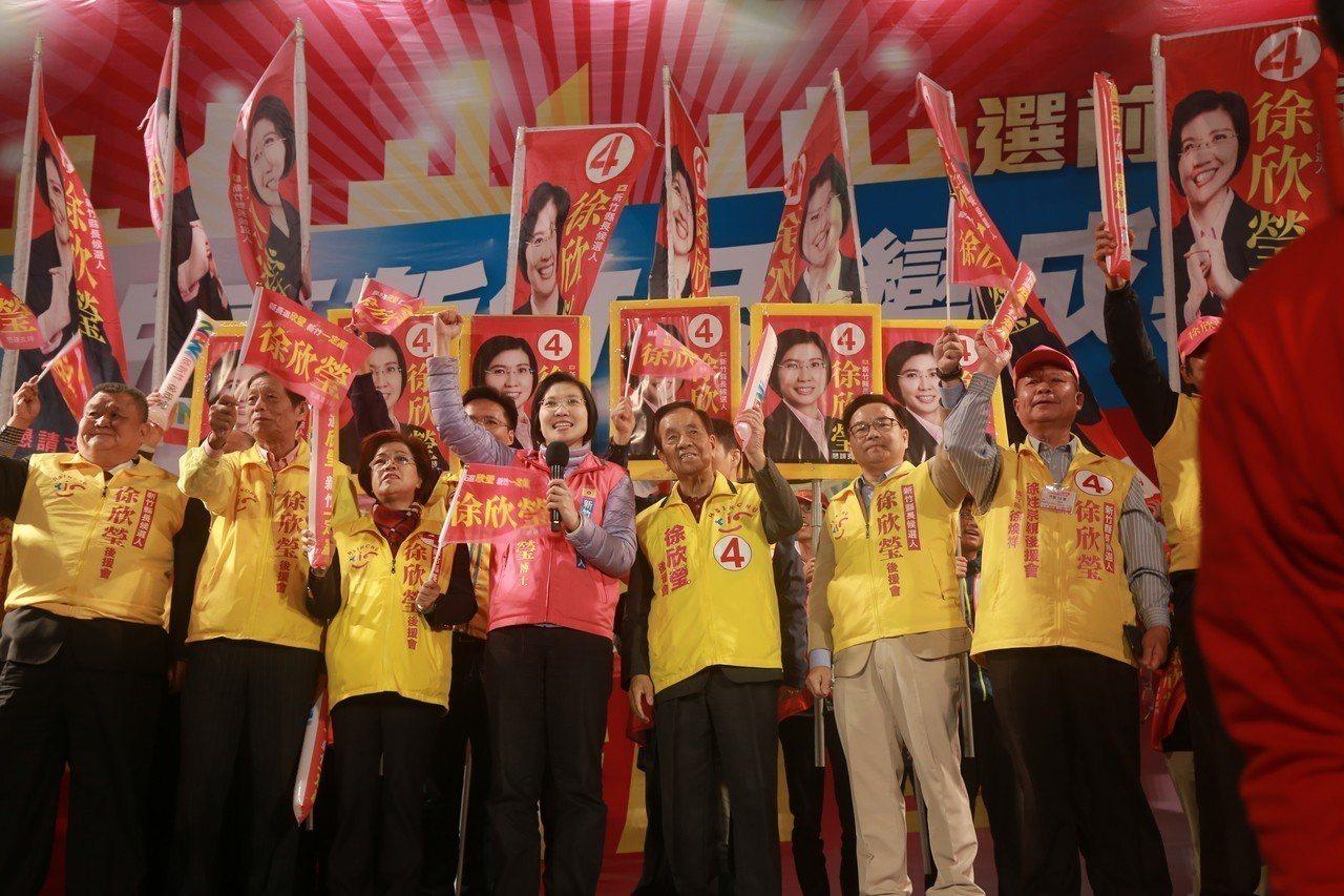徐欣瑩(左三)認敗選,如今辭掉民國黨黨主席一職。圖/報系資料照