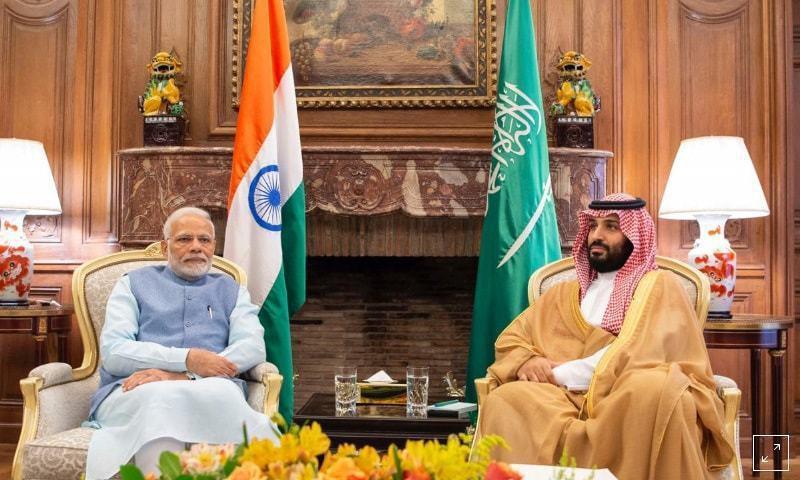 在G20峰會舉行前夕,沙國王儲跟印度總理莫迪進行了會談。 (路透)