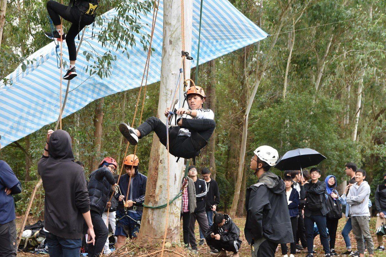 建景系舉辦攀樹體驗,讓學生探索大自然。失去平衡的同學正利用自己的力量克服。圖/南...
