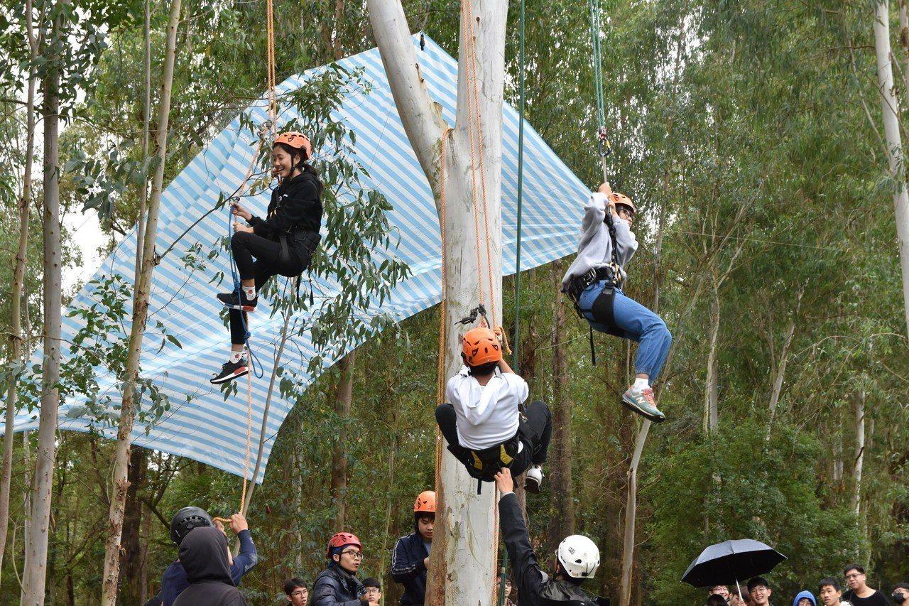 建景系舉辦攀樹體驗,讓學生探索大自然。學生成功利用繩索攀上樹。圖/南華大學提供