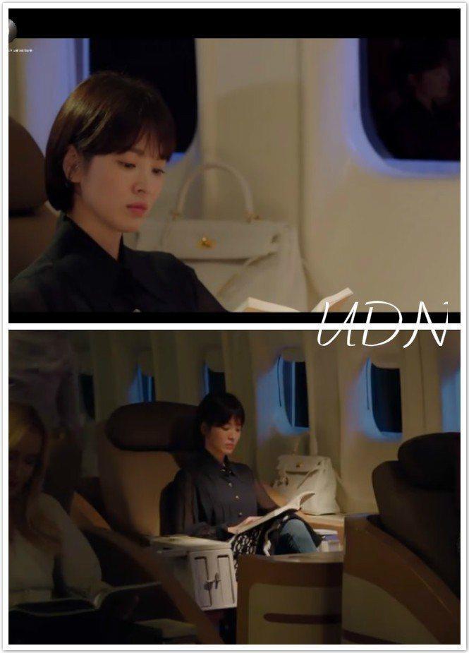 宋慧喬在搭飛機的時候配襯愛馬仕Kelly包。圖/皆截自愛奇藝台灣站