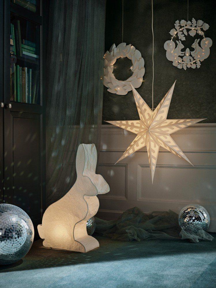 星星造型STRÅLA燈罩,可搭配STRÅLA吊燈線組或底座,創造專屬的吊燈或桌燈...