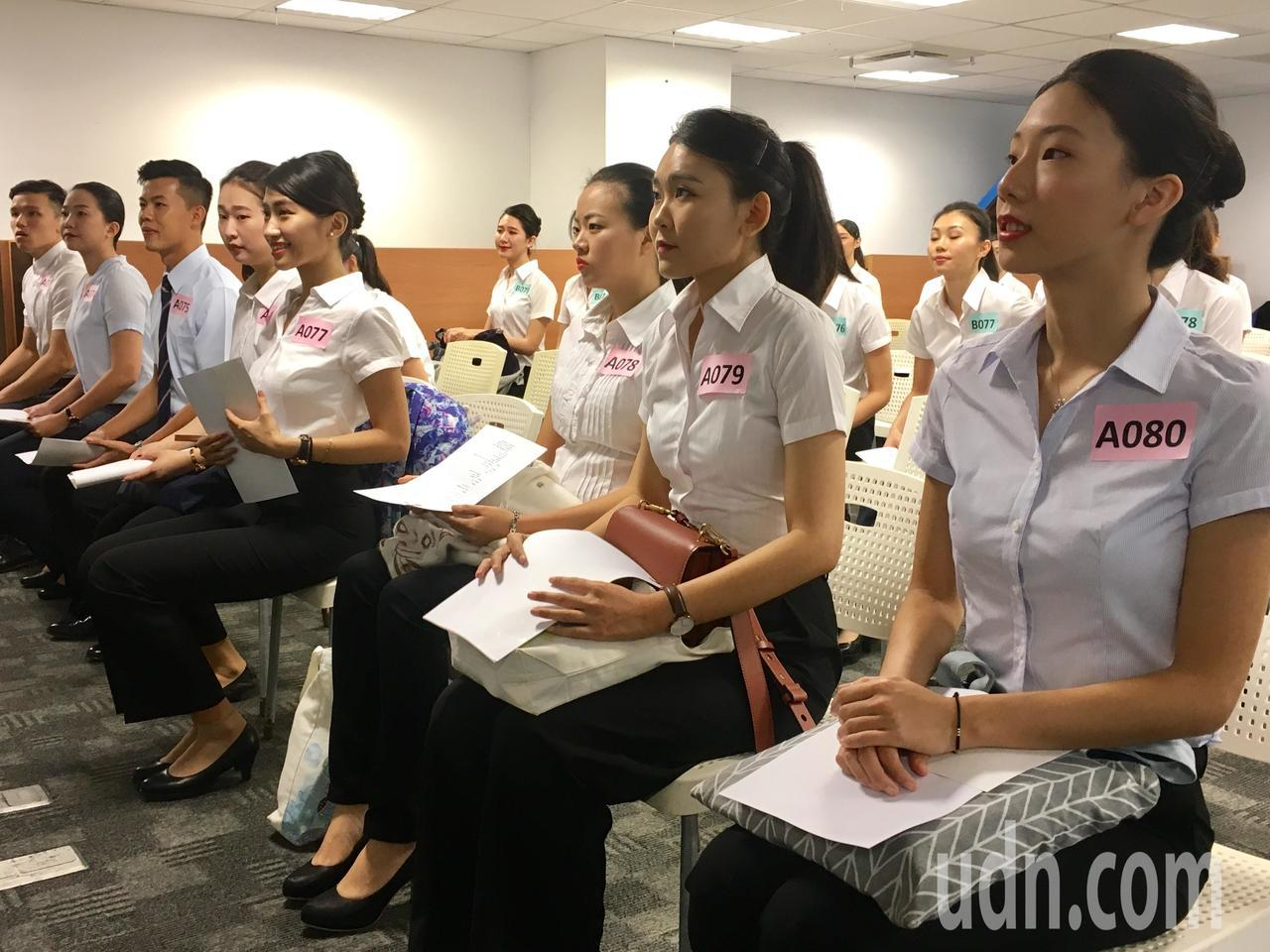 台灣虎航今天甄選空服員初試。記者吳姿賢/攝影