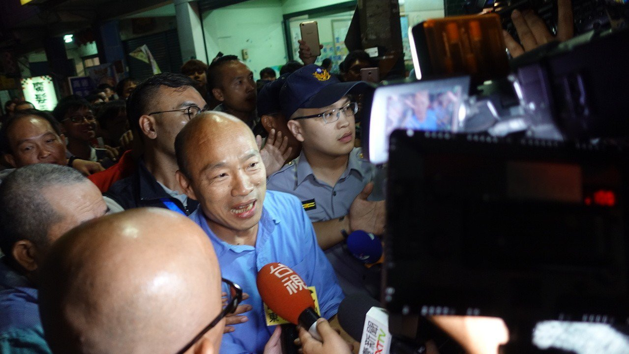 高市長當選人韓國瑜現身現場幾乎暴動。記者劉星君/攝影