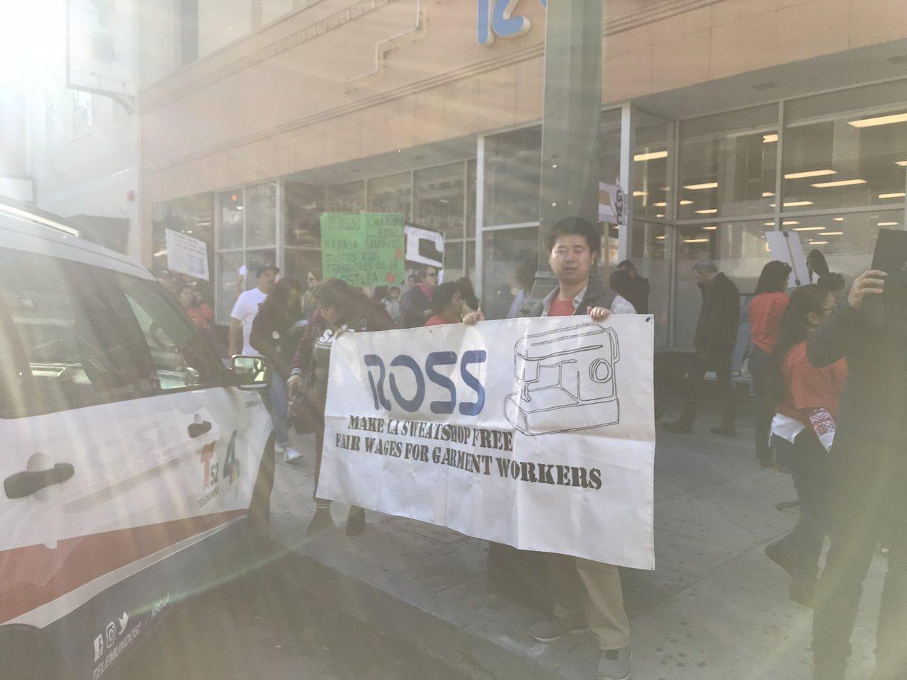 成衣廠工人抗議。記者張越/攝影