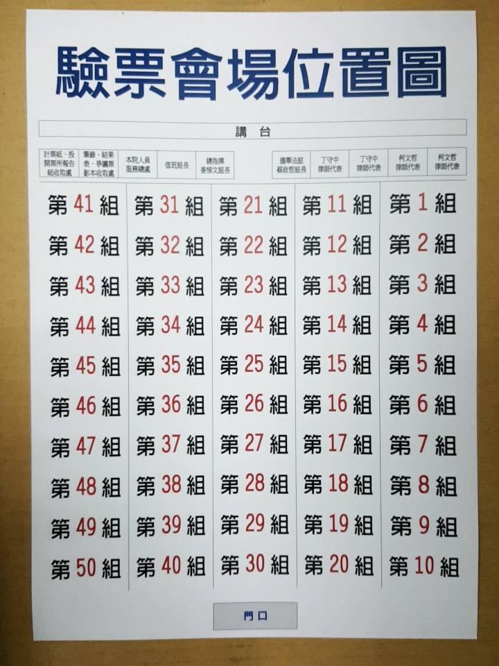 驗票會場位置圖。圖/台北地院提供