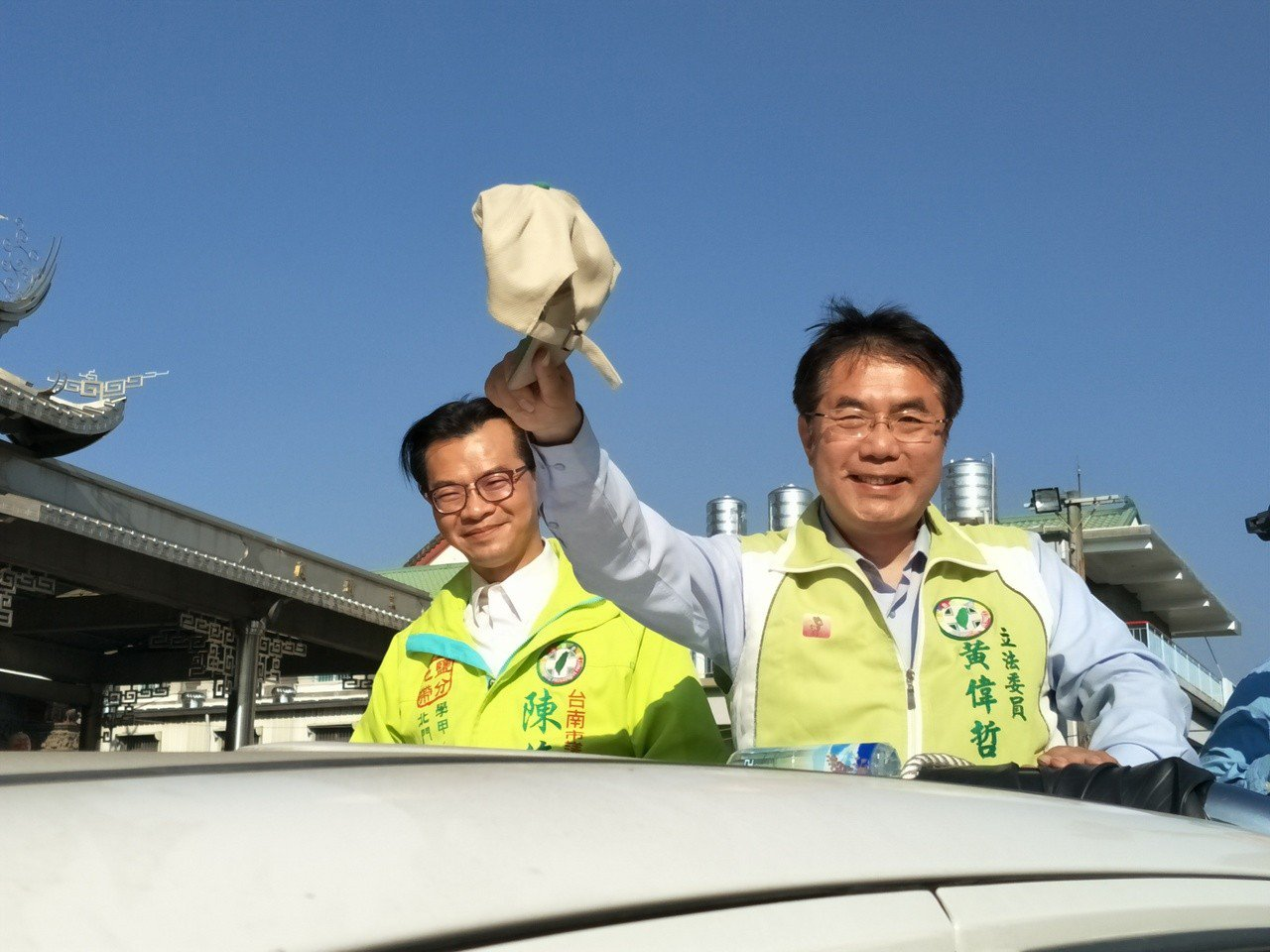 黃偉哲下午謝票從西港區出發。記者謝進盛╱攝影