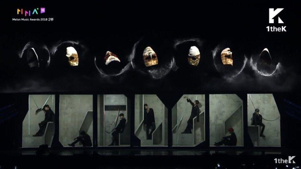 防彈少年團展現超水準舞台。圖/摘自推特