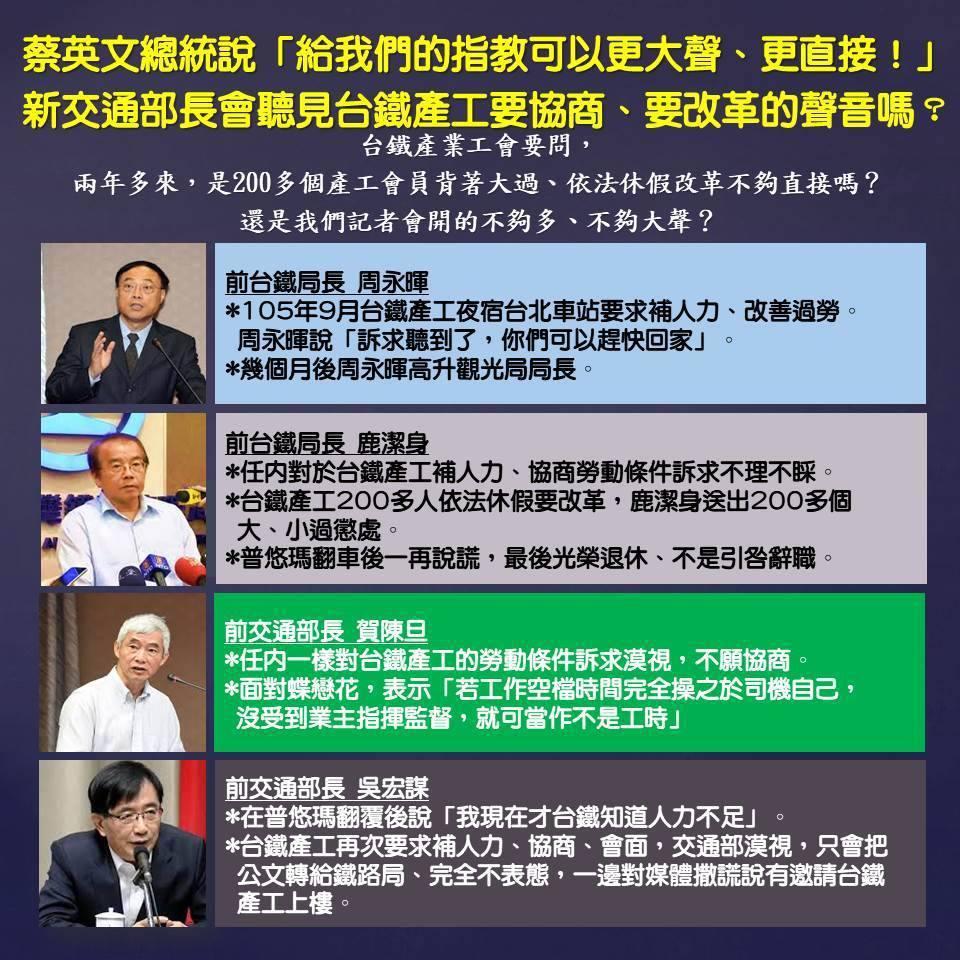 台鐵產業工會發言人蕭農瑀在臉書上質疑,下周就要換新任交通部長,政府真的會聽見台鐵...