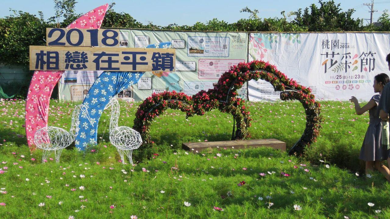 桃園花彩節平鎮場展以「相戀在平鎮」主題,設計一對白鷺絲及雙心造型「我的絲心」視覺...