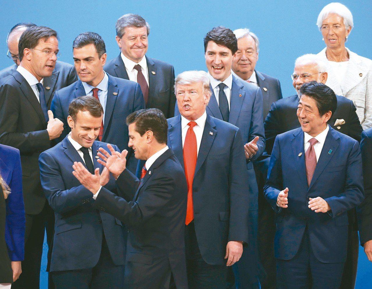 G20阿根廷峰會十一月卅日開幕前,各國領袖合照,即將卸任的墨西哥總統貝尼亞尼耶多...