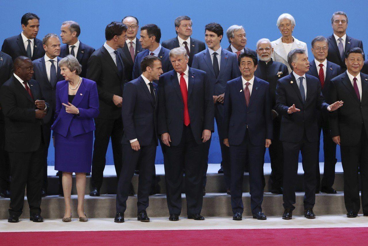 各國領袖G20合照。 美聯社