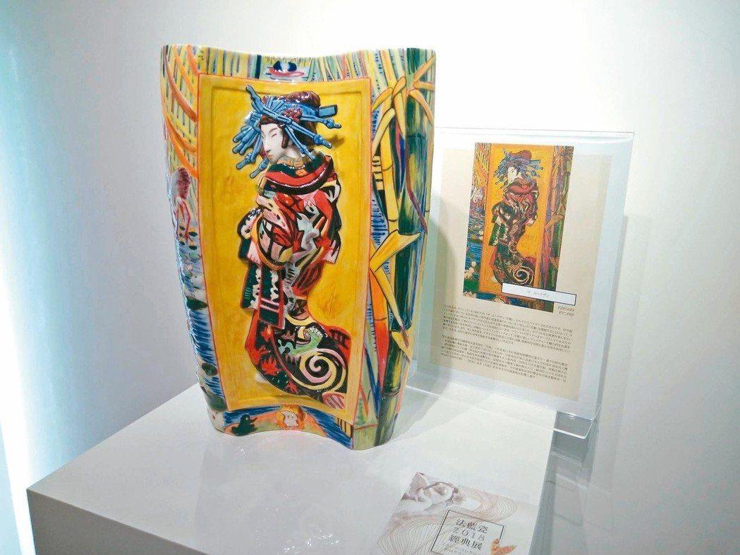 法藍瓷在東京六本木展售「唯美花魁」。 圖/何秀玲、法藍瓷