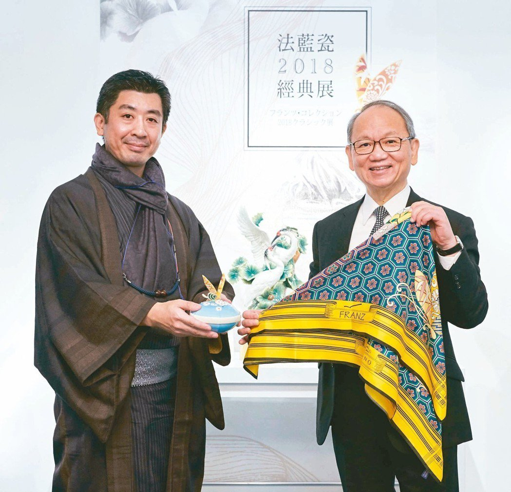 法藍瓷總裁陳立恆(右)與OKANO社長岡野博一。 圖/何秀玲、法藍瓷