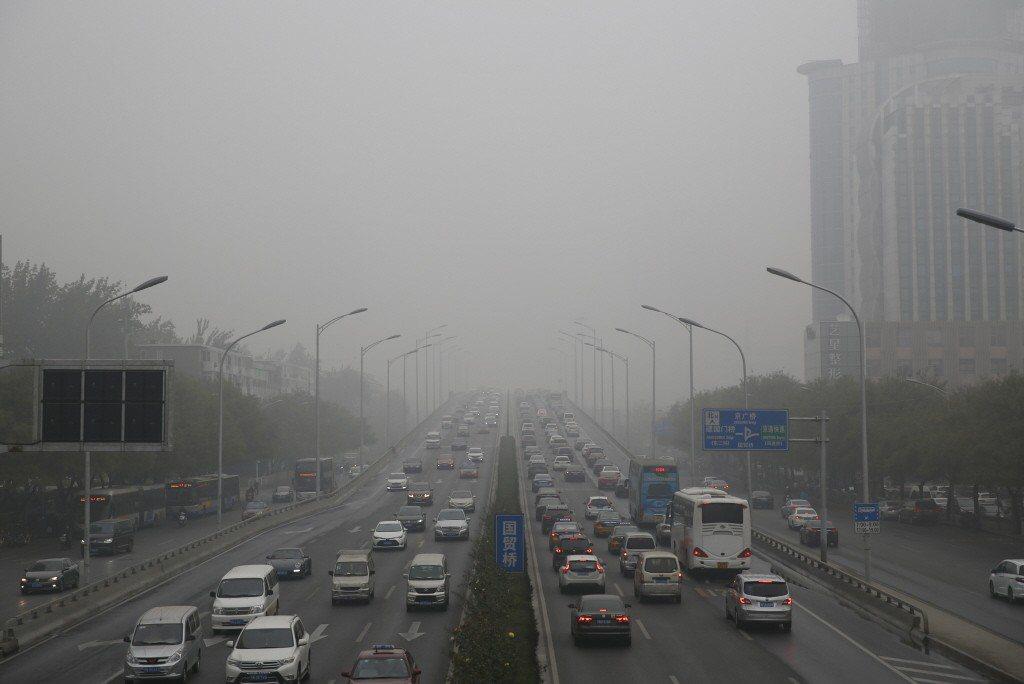 北京霧霾。 中新社
