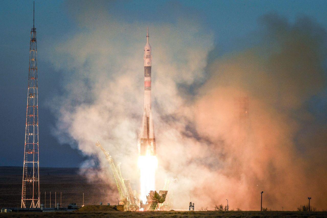 俄羅斯聯合號火箭今天從哈薩克貝康諾太空發射場(Baikonur)升空。 法新社