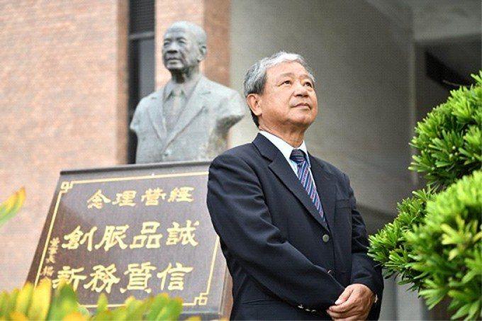 楊金豹的銅像佇立在建大總部門口,上頭是經營理念:誠信、品質、服務和創新。