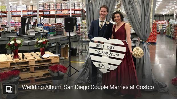 美國加州一對新人在聖地牙哥密申谷(Mission Valley)的好市多舉辦婚禮。圖/翻攝自NBC San Diego