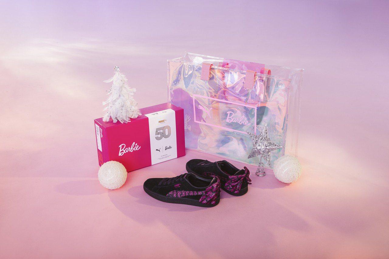 Puma與芭比娃娃聯名推出Suede鞋款3,580元,包含特製鞋盒。圖/Puma...