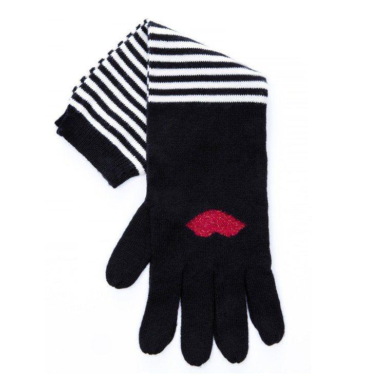 紅唇條紋手套,2,680元。圖/LULU GUINNESS提供